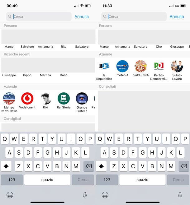 Come cancellare le ricerche su Messenger per iOS