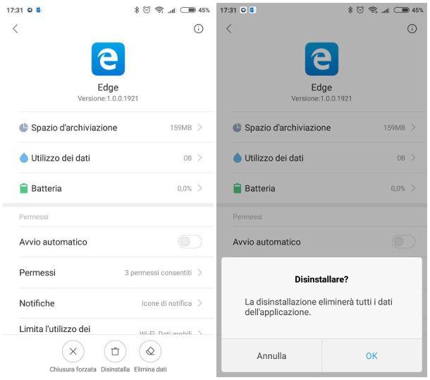 Come disinstallare Microsoft Edge da Android
