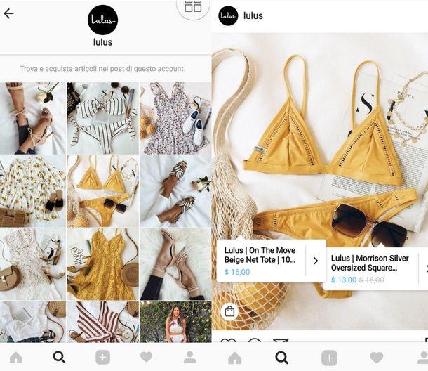 funzione shopping instagram