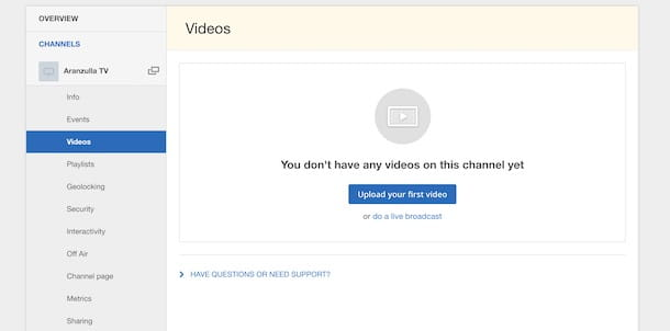 Caricare video su IBM Cloud Video
