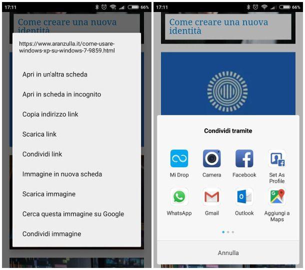 Mandare immagini da Internet su WhatsApp per Android