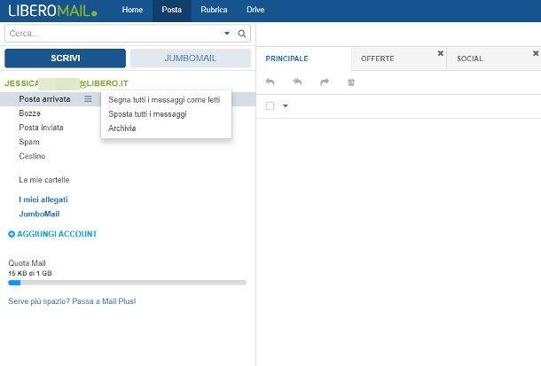 Come cancellare tutte le mail da Libero Mail Web