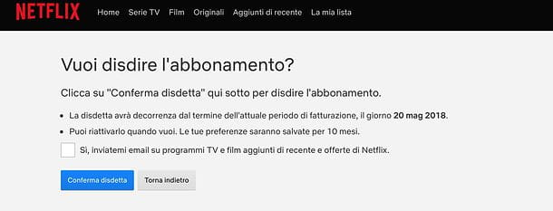 Come cancellarsi da Netflix