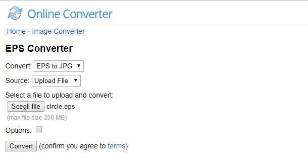 Convertire file EPS online