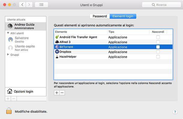 Programmi in esecuzione automatica su Mac