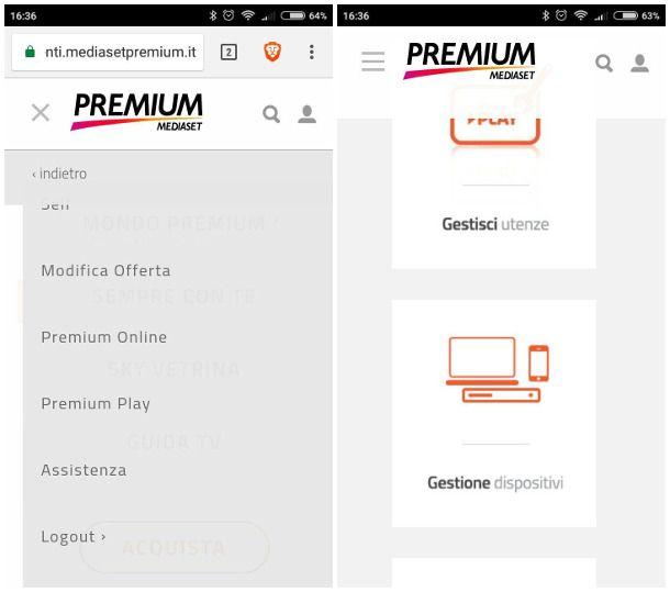 Dissociare dispositivi Premium da smartphone e tablet