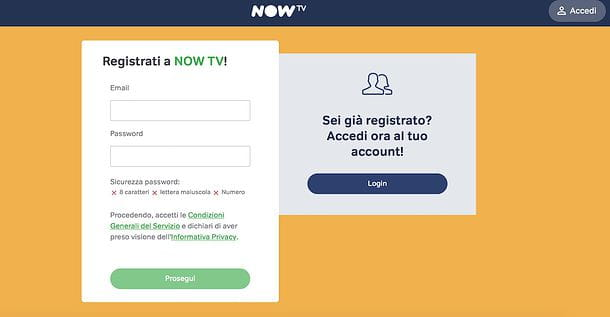 Registrazione NOW TV Smart Stick