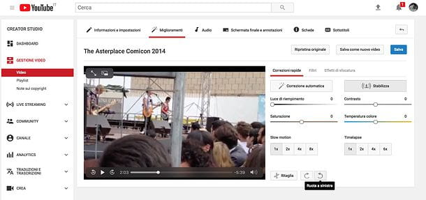 Come ruotare un video su Facebook con YouTube