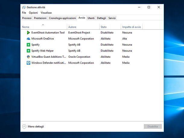 Lista software in esecuzione sul PC