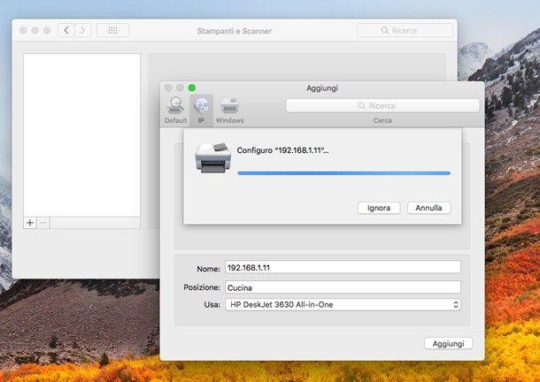 Installare stampante HP su macOS