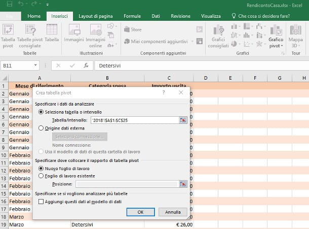 Creare una tabella pivot con Microsoft Excel