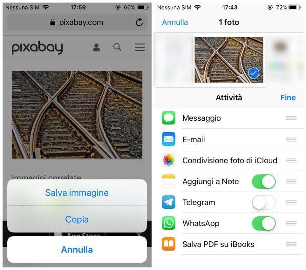 Mandare immagini da Internet su WhatsApp per iOS