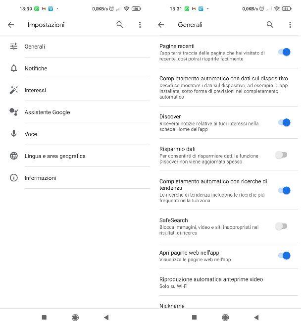 Attivare notizie App Google
