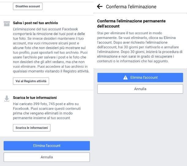 Impostazioni eliminazione account app