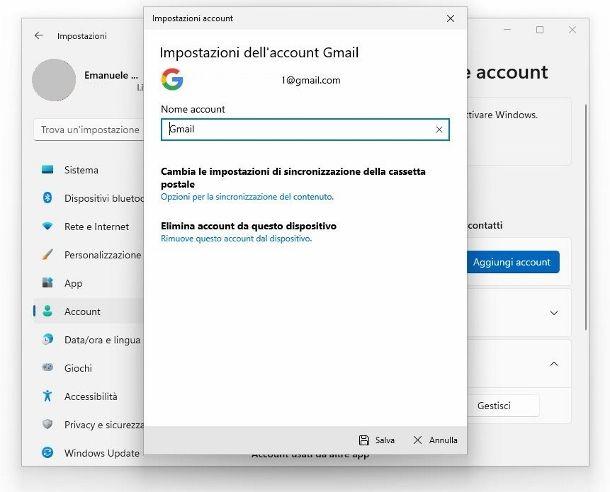 Rimuovere account Gmail da Windows 11