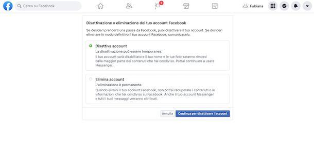 Impostazioni disattivazione account Web