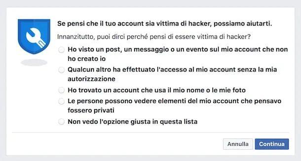 Impostazioni per account hackerato Facebook Web