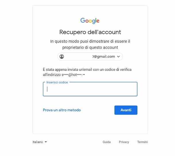 Recupero password account Gmail