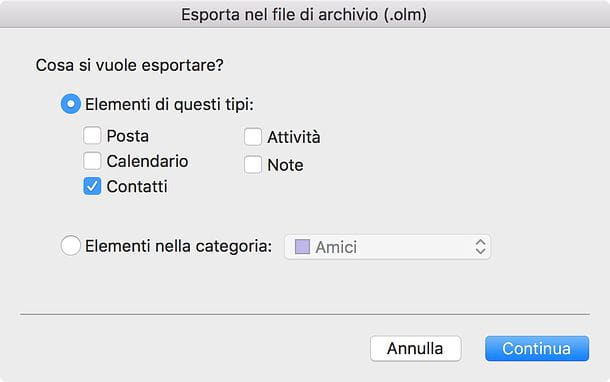 Come esportare rubrica Outlook Mac