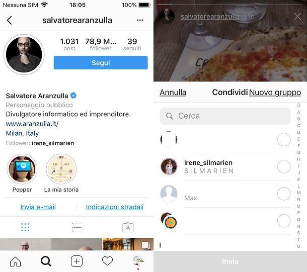 Come condividere stories di altri su Instagram