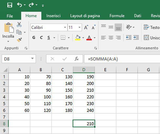 Come sommare colonne su Excel