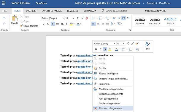 Come eliminare collegamenti ipertestuali da Word online