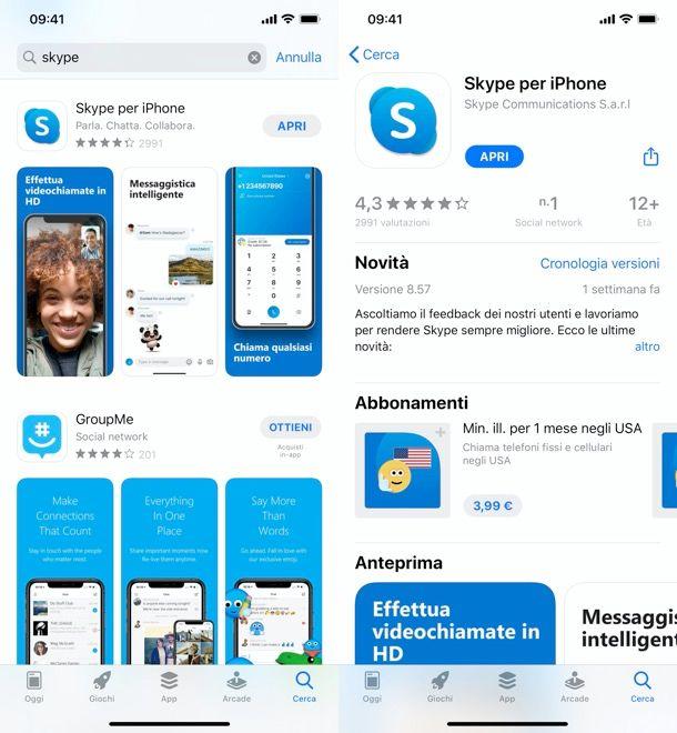 Installazione app Skype