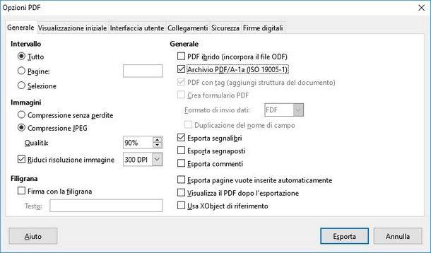 Come creare PDF A - LibreOffice