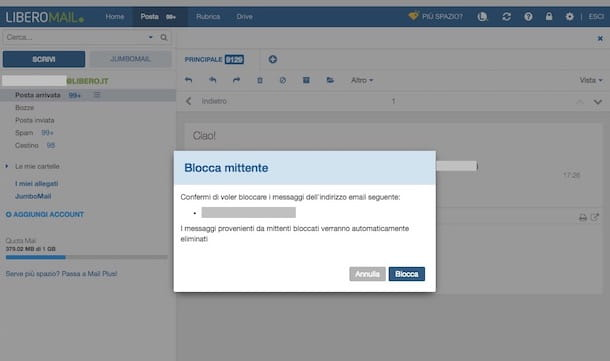 Come bloccare email indesiderate su Libero