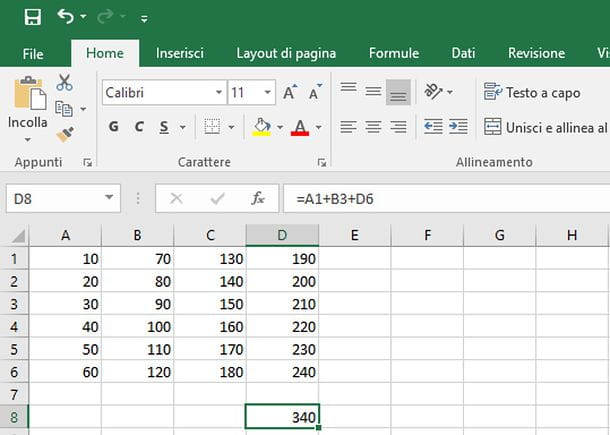 Come sommare su Excel