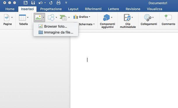 Inserimento immagine in Word per Mac