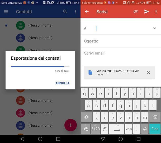 Come esportare rubrica Outlook Android