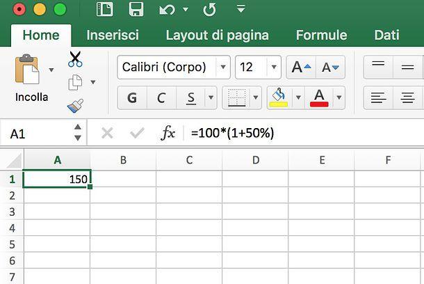 Come sommare percentuale su Excel
