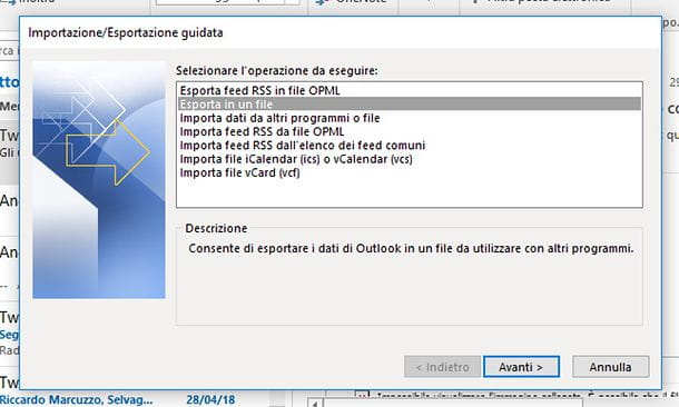 Come esportare la rubrica di Outlook Windows