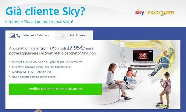Offerte per i già clienti Sky o Fastweb