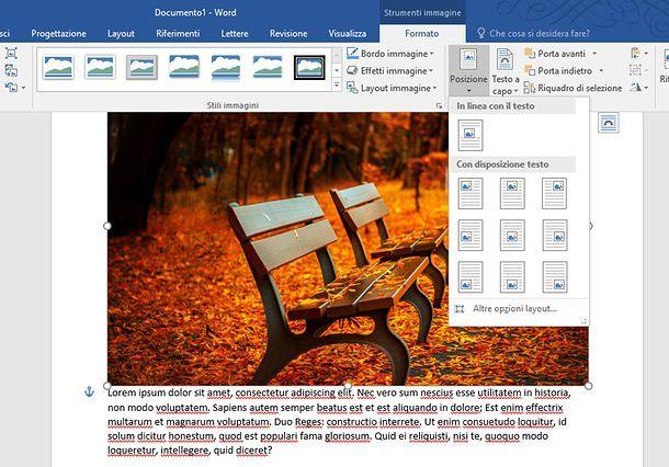 Come ancorare un'immagine in Word