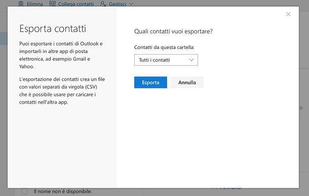 Come esportare contatti Outlook.com