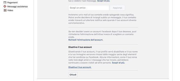 Come chiudere profilo Facebook