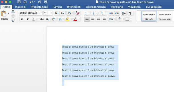 Come eliminare collegamenti ipertestuali da Word per Mac