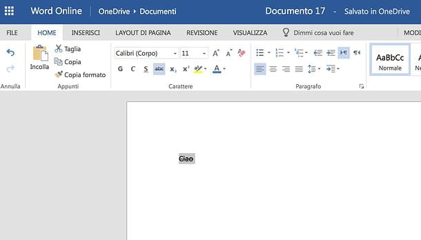 Come barrare una parola in Word Online