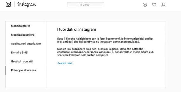 Download dati Instagram