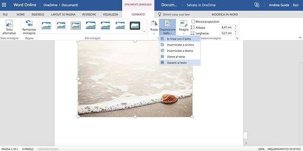 Come adattare un'immagine ad un foglio Word online