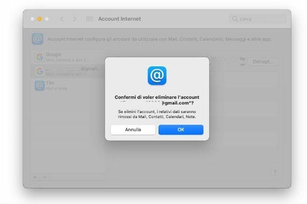 Rimuovere account Gmail da macOS
