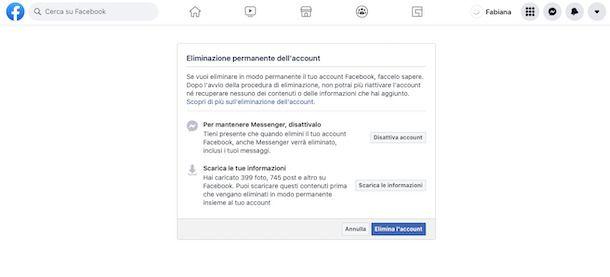 Impostazioni eliminazione account Facebook Web
