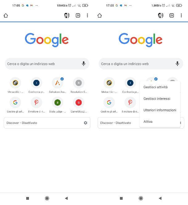 Attivare notizie Google Chrome