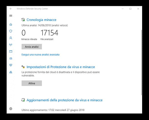 Come eliminare virus dal PC senza formattare - Windows Defender