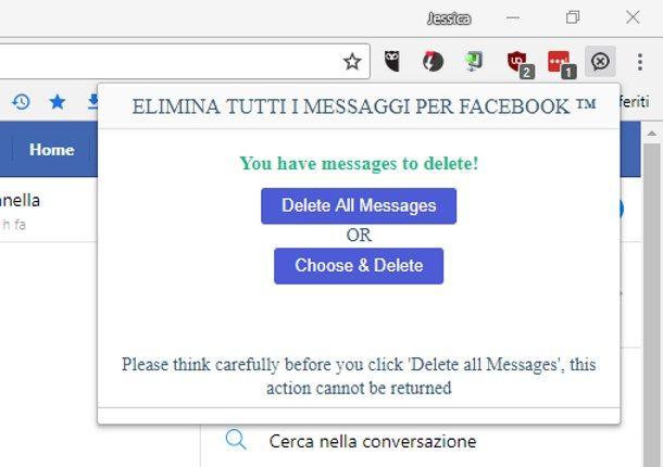 Cancellare tutti i messaggi inviati su Messenger contemporaneamente