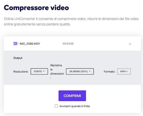 Compressore Video Wondershare