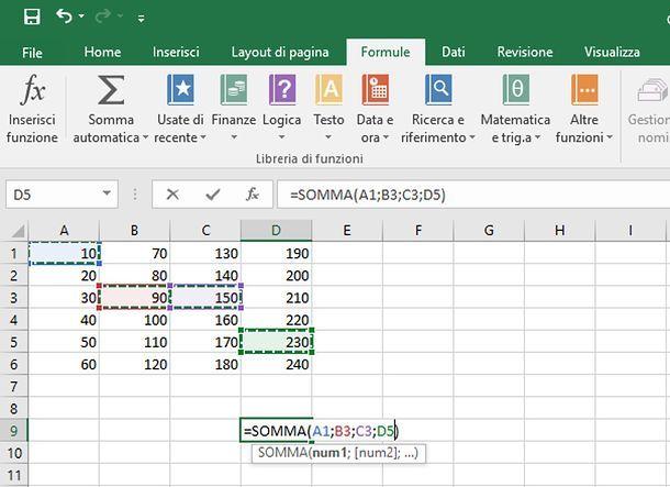 Come sommare automaticamente su Excel