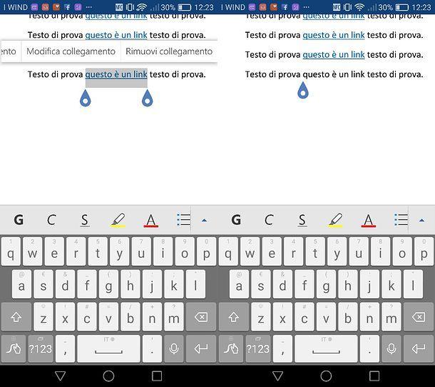 Come eliminare collegamenti ipertestuali da Word per Android